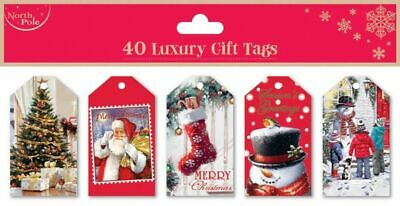 40 Luxury Traditional Christmas Gift Tags w/ String Xmas Present Wrapping Labels