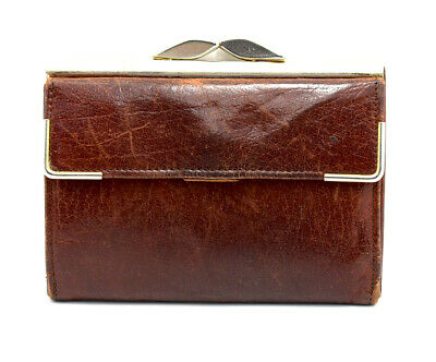 Vintage Hand Made Womens Leather Wallet with Closure Brown