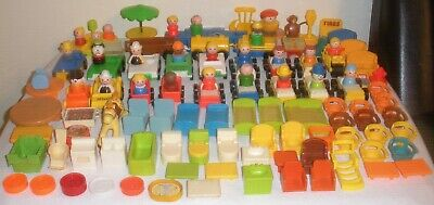 LARGE LOT Vintage Fisher Price Little People ACCESSORIES Cars, Figures Furniture