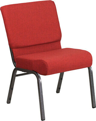 21'' Wide Crimson Fabric Stacking Church Chair with Gold Vein Frame