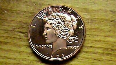 1921~Peace Dollar~DESIGN~On 1 OZ. Copper Round .999~Coin~Silver Dollar Size &
