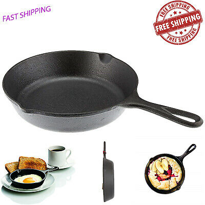"""Cast Iron Skillet 8"""" Pre Seasoned Frying Cookware Pot Oven Cooking Fry Pan Camp"""