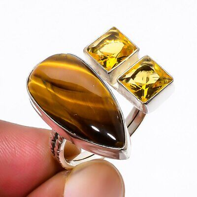 Yellow Tiger'S Eye, Aaa Citrine 925 Sterling Silver Ring 8 (42) LS