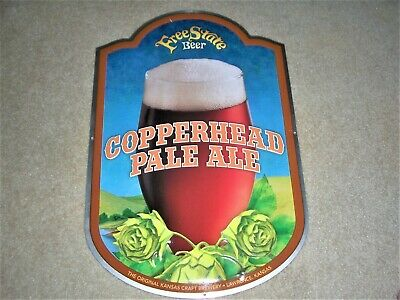 Free State Copperhead Pale Ale Metal Tin Tacker Beer Sign Lawrence Kansas New