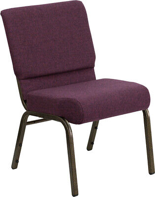 21'' Wide Plum Fabric Stacking Church Chair with Gold Vein Frame