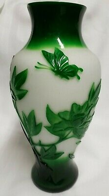 Vintage Chinese Peking Vase Jade Green On White Butterfly & Plants