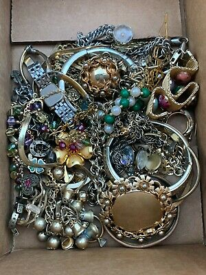 Junk Drawer Estate Lot Vintage Jewelry Gold Tone Rings Necklaces