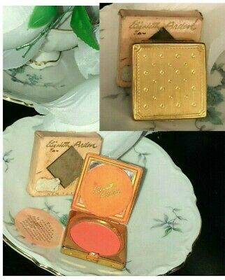 Vintage Elizabeth Arden  Cheek Rouge Blush Gold Metal Compact New Canary Red