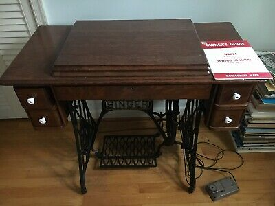Singer Treadle Sewing Machine Base Vintage Antique with Ward's Sewing Machine