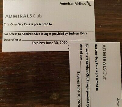 2x American Airlines Admirals Club One Day Pass - Expiration Date is 6-30-2020