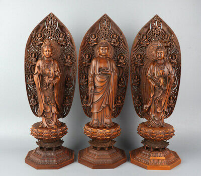 Chinese Exquisite Hand-carved Buddha Guanyin Carving Boxwood statue 3pcs