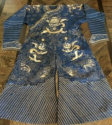 Antique Chinese Hand Embroidered Dragons Gold Thread Summer Robe Gauze Silk?
