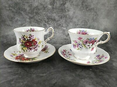 Paragon Set of 2 Fine Bone China Flower Festival Tea Cups and Saucers,c60's-70's