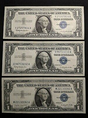Lot of 3 - 1957 $1 SILVER Certificates! NO RESERVE! Starts at $4.99