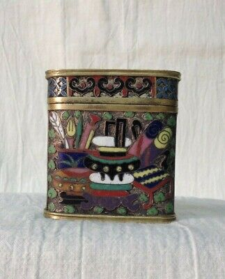 Beautiful Antique Chinese Qing Cloisonne Enamel Brass/Copper Opium Box Container