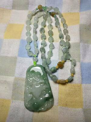 100% Natural Genuine Burmese Jadeite Jade Lotus Leaf Ruyi Pendant Necklace #A88