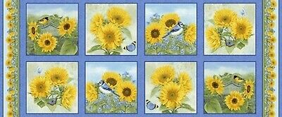 My Sunflower Garden Birds Butterflies Cotton Quilting Fabric Pillow Panel