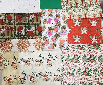 Vintage Christmas Wrapping Paper & Tissue Scraps For Crafts Scrapbooking 50s 60s