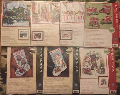 Dimensions Counted Cross Stitch Christmas Stockings Winter Birds Snowman Lot 7