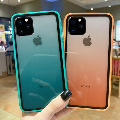 For iPhone 11 Pro Max XS XR 7 8 Gradient Tempered Glass Bumper Hybrid Case Cover
