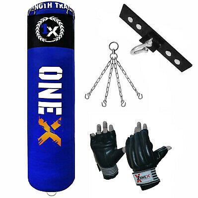 ONEX 5ft Hanging Boxing Punch Bag Filled  Heavy Duty Punching MMA Training Set