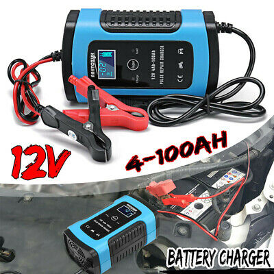 12V 6A Intelligent Pulse Repair LCD Car Automobile Motorcycle Battery Charger