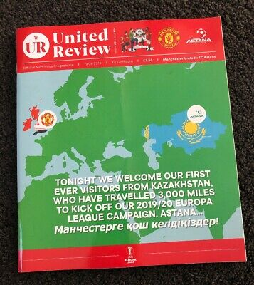 Manchester United v Astana 19.9.19 Europa League MD1 Official Programme..