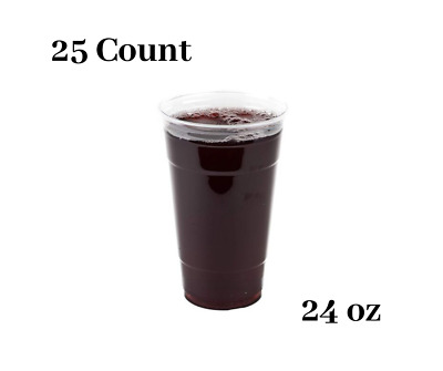 Clear Plastic Disposable Pet Cups (24 oz Cups, 25 Pack)