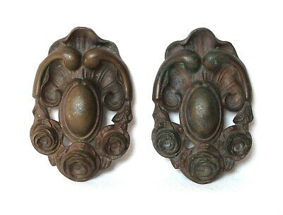 Pair of LARGE ANTIQUE FRENCH BRONZE ORNAMENT MEDALLIONS with roses decor