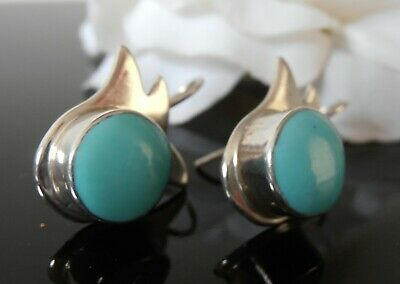 Sterling Silver earrings 925 turquoise Howlite stone handmade Mexico stamped