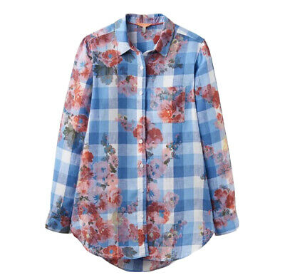 JOULES Womens Jeanne Print Linen Blue Gingham SHIRT SIZE UK 8