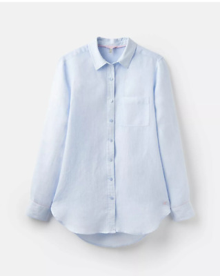 JOULES Jeanne BLUE Linen Collared SHIRT SIZE UK10