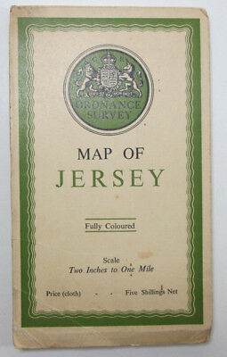 1933 Old Vintage OS Ordnance Survey Half-Inch Map of Jersey Fully Coloured