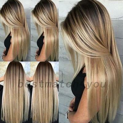 Women Long Blonde Straight Natural Wig Hair Synthetic Full Wigs Net AU