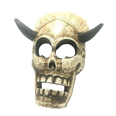 Skeleton Skull Wooden Mask Wall Hanging Decor Scary Halloween Decoration Props