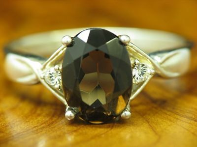 925 Sterling Silver Ring with Smoky Topaz and Zirconia Decorations / Real