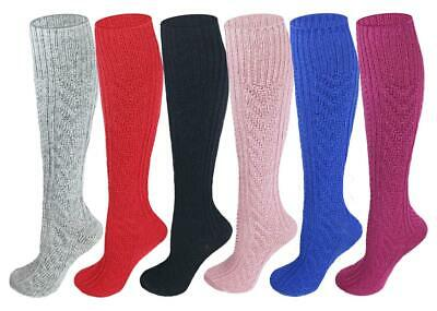 Ayla 6 pairs Girls Kids Childrens Cable Knit Wool Boot Socks