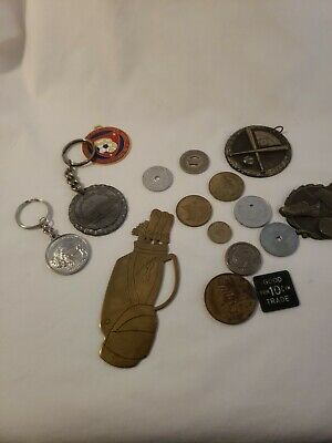 Lot of Vintage Tokens Keychains Medals Etc Tax Scrip Trade Scrip and More!