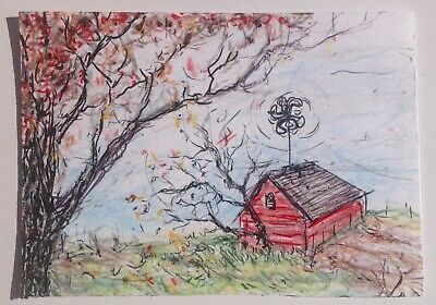 ACEO Original Red House Drawing with Windmill on a windy day Tiny US Art