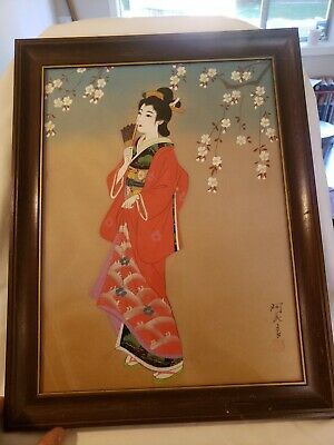 Beautiful Vintage Large Signed Geisha Painting on Silk Beautiful Piece of Art