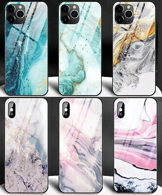 For iPhone 11 XR X XS Max 8 7 6s 6 Plus Cover Luxury Marble Tempered Glass Case