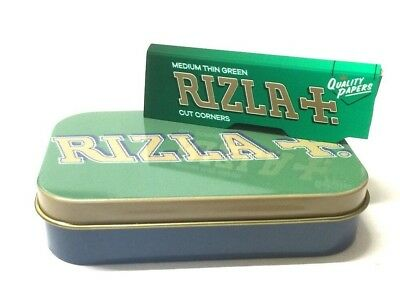 CIGARETTE TOBACCO STASH HINGED METAL TIN with 3 x GREEN RIZLA ROLLING PAPERS