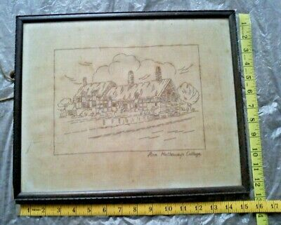 Vintage Embroidery Ann Hathaway's Cottage Old Label Boots Pure Drug Company