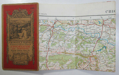 1933 old OS Ordnance Survey one-inch Popular Edition Map 133 Chichester Worthing