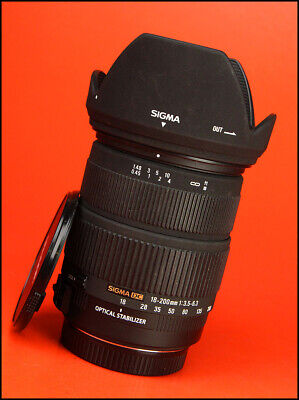 Sigma 18-200mm f3.5-6.3 DC OS AF Zoom Lens Canon With Front & Rear Caps & Hood