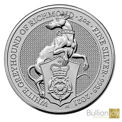 2020 Queen Beast 2 oz White Lion of Mortimer Silver coin in Coin Capsule