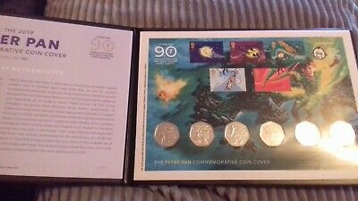 2019 PETER PAN IOM FDC 50P STAMP & COIN COVER, SET OF 6 x 50p COINS IN HAND BUNC