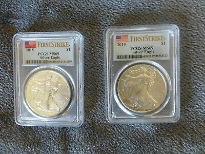 2018 2019 Silver American Eagle MS69 PCGS First Strike coins