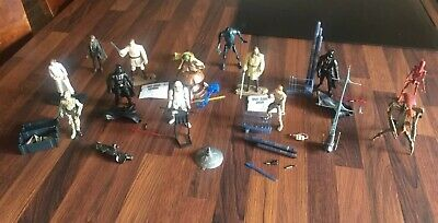 Star Wars Lot Loose Figures Potf Saga Complete Diorama Scene x 13 Duel Weapons