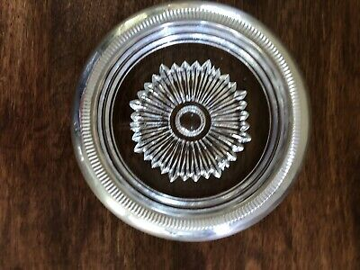 """Vintage Marked """"Sterling STC""""  Silver Rimmed Glass Coaster Ashtray 4"""""""
